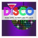 purple cocktail disco party invitations