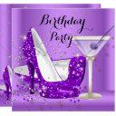 purple cocktail glitter high heels birthday party invitation