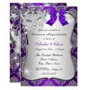 purple damask mask quinceanera masquerade invite