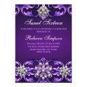 purple damask & pearl sweet 16 birthday invite