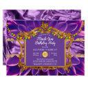 purple elegant floral mardi gras birthday party invitation