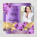 purple fabulous 50 photo gold rose bow birthday invitation