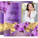 purple fabulous 50 photo gold rose bow birthday invitation