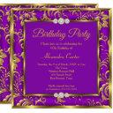 purple floral damask photo gold birthday party invitation