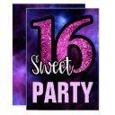 purple galaxy pink glitter sweet 16 birthday party invitations