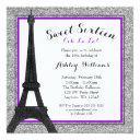 purple glam paris themed faux glitter sweet 16 invitation