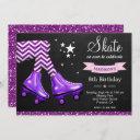 purple glitter girls roller skating birthday party invitation