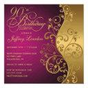 purple & gold 90th birthday party invitations