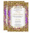purple gold white pearl tiara birthday party invitations