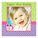 purple green owl polka dot 1st birthday girl photo invitation