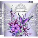 purple lilac butterfly tiara quinceanera floral invitation