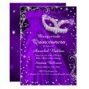 purple mask & dress masquerade quinceanera invite