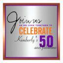 purple + orange + silver - 50th birthday invitation