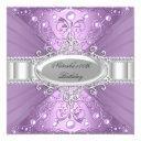purple pearl & diamond damask birthday invitations