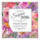 purple pink floral 30th surprise birthday invitation