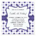 purple polka dot birthday invitation