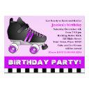 purple roller skate birthday party invitations