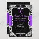 purple silver black tiara sweet 16 invitation