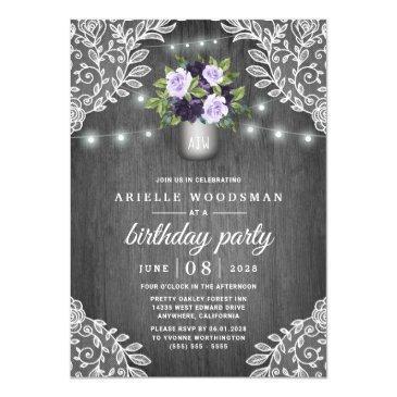 purple silver gray floral rustic birthday party invitation