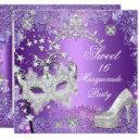 purple sweet sixteen 16 masquerade party tiara invitations
