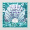 purple teal pearl under the sea birthday party invitation