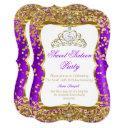 purple tiara princess sweet 16 gold white invite 2