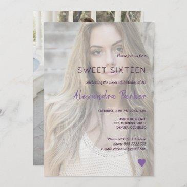 purple violet heart simple photo sweet sixteen invitation
