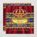 queen king prince royal blue regal red crown 2 invitation