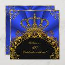 queen king regal gold royal blue birthday party invitation