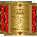 queen or king regal red gold 21st birthday party invitation