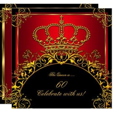 queen or king regal red gold royal birthday party invitations