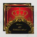 queen or king regal red gold royal birthday party invitation