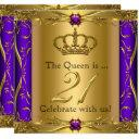 queen princess regal purple 21st birthday party invitations