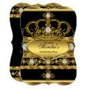 queen royal gold diamond crown birthday party invitation