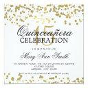 quinceanera 15 birthday party gold foil confetti invitations