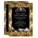 quinceanera 15th birthday black gold damask invitation