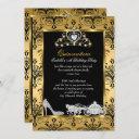 quinceanera 15th birthday black gold damask invitation