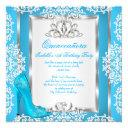quinceanera 15th birthday cinderella blue shoe invitation