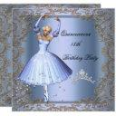 quinceanera 15th birthday party blue ballerina invitation