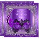 quinceanera 15th birthday party masquerade purple invitation