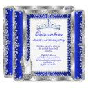 quinceanera 15th birthday party royal blue silver invitation