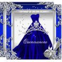 quinceanera 15th birthday royal blue dress gown invitations
