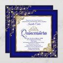 quinceanera 15th gold royal blue pearl tiara photo invitation