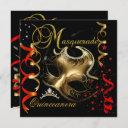 quinceanera 15th masquerade red gold mask invitation