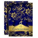quinceanera 15th navy blue gold floral damask bow invitation