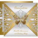 quinceanera 15th party gold silver butterfly tiara invitation