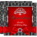 quinceanera 15th party red damask silver black 3 invitations