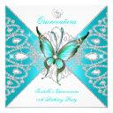 quinceanera 15th pretty teal blue butterfly new invitation