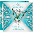 quinceanera 15th pretty teal blue butterfly tiara invitations