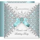 quinceanera 15th teal blue silver white diamond invitation